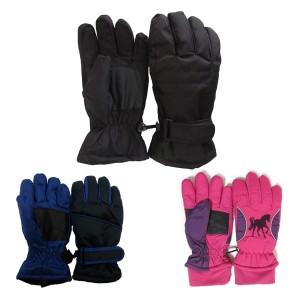 送料無料 在庫処分 スキー 手袋 スノー グローブ キッズ 子供 ジュニア 男の子 女の子 全9種 ライン入り グローブ 5本指タイプ 3-15歳 撥