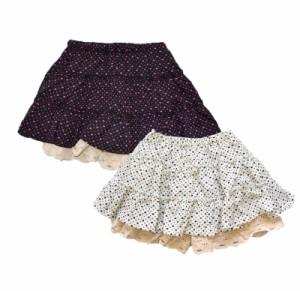 送料無料 1000円 スカート インナーパンツ 女の子 キッズ ハートデザイン 全2色4サイズ ハートデザイン ボタン 絞り付き i3skirt001