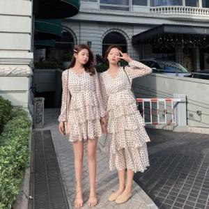 2e1a21674281e ティアードワンピース サマードレス ドット柄 ロングドレス シフォン マキシワンピ 夏ワンピース ロング ビーチワンピ
