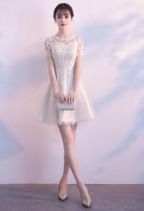 296c6133458b2 パーティードレス 結婚式 二次会ワンピース ミニドレス レース ミニ丈 袖あり 半袖 20代 白 ホワイト Aライン フォーマル お呼ばれ 韓国