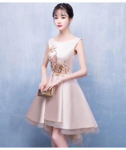 3814671551f63 パーティードレス 結婚式 二次会ワンピース ミニ丈 ノースリーブ 20代 ピンク 刺繍 フィッシュテール エレガント