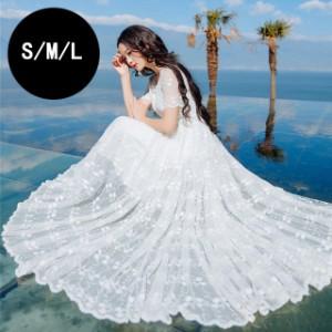 ca243a6565294 ウェディングドレス ワンピース Aライン レースアップ 刺繍 ホワイト パーティードレス 二次会 結婚式 フレンチスリーブ