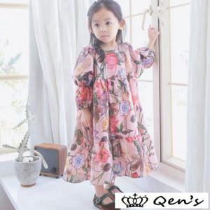 韓国子供服 女の子ワンピース ワンピースドレス マキシ丈ワンピース ワンピース 春着 長袖花柄ワンピース 花柄ワンピース リボンレベル
