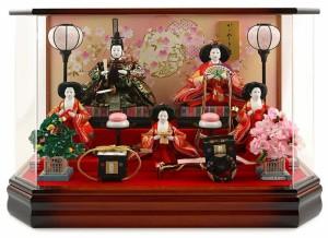 雛人形 コンパクト ひな人形 雛 ケース飾り 五人飾り 藤翁作 美咲 三五芥子五人 金襴仕立 六角アクリルケース オルゴール付
