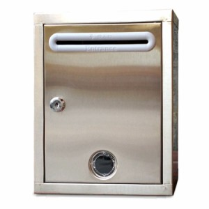 【送料無料!】ステンレス製 鍵付き レター ボックス 郵便 受け ポスト 頑丈 丈夫 シンプル デザイン 盗難防止 メールボックス アンケー