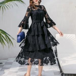 7facfa1339ddc お呼ばれ ワンピース 春新作 大きいサイズ 三段フレア 花柄総レース ティアード ドレス レディース ファッション