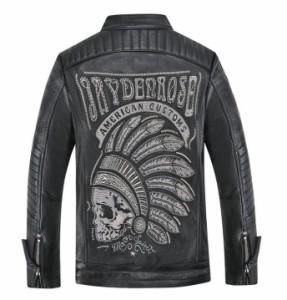 レザージャケット メンズ バイクジャケット 芸能人愛用インディアン 刺繍Bigロゴ