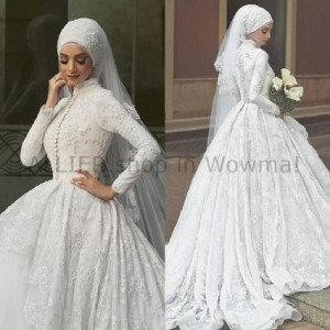4ae9a6d69d726 ウェディングドレス ささやかなイスラム教徒の長袖のウェディングドレスのレースビーズハイネックブライダル