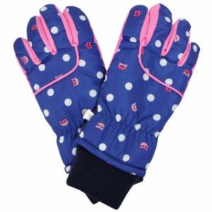 1b5730ff03dba3 スキーグローブ 子供 スキー 手袋 キッズ 女の子 五本指 スノーグローブ ネコドット柄 16cm17cm18cm