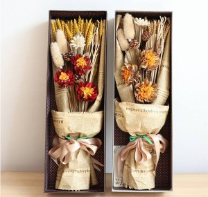 ドライフラワーブーケ 大麦の穂 花束 母の日 ボトル付 花 プレゼント ギフト お洒落 カワイイ 天然 上品質植物 フラワー ボックス