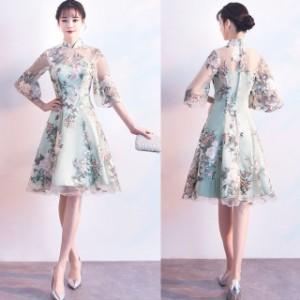 3c59e2d0b3f7a ミニドレス 結婚式 パーティードレス 二次会 ミニ ドレス 膝丈 ワンピース 花柄 袖付き