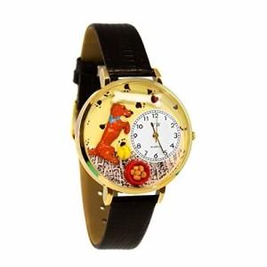 b86a56835d05 Begging Dog Black Skin Leather And Goldtone Watch #WG-G0130009