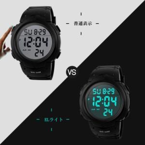 f68baa78c9 HY-00299メンズ デジタル腕時計 防水腕時計 50メートル防水 ブラック大文字盤 ストップウオッチ アラーム LED バックライト タイマー機能