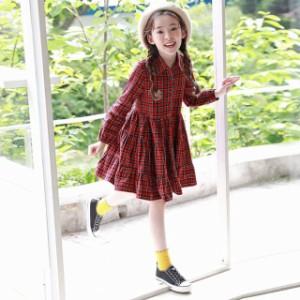 74a17de4ecc74 子供服 赤い チェック ワンピース 韓国子供服 長袖 シャツ ワンピース女の子 キッズ 可愛い 春秋 レッド