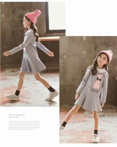 642fcf0f3be97 女の子 ワンピースドレス キッズ ワンピース チュール ワンピース ハイウエスト 綿 ワンピースドレス 韓国子供服 通学ワンピ キッズ