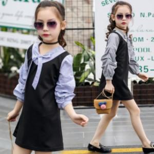76fe4b91cafe7 韓国子供服 秋着 ワンピース 女の子 可愛いスタイル 長袖 ワンピース ブラック ブルー ジュニア お嬢様風