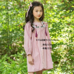 fe1167cafb2a1 韓国子供服 秋着 綿 ワンピース 女の子 可愛いスタイル 長袖 刺繍花柄 ワンピース ジュニア
