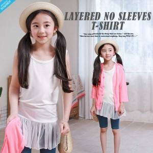 2f01e81bd1791 レイヤードノースリーブ Tシャツ ベーシック 韓国子供服 100cm-150cm