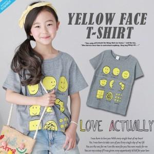 d5dc1f74d5814 イエロー プリント 半袖 Tシャツ ベーシック 韓国子供服 100cm-150cm ママサイズ