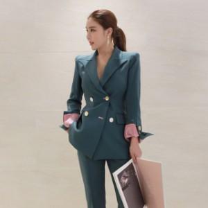 ピンクが差し色 ブルー系 ダブル パンツスーツ ハンサムスーツ