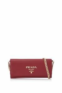 d1e1db4ddc12 プラダ Prada サフィアーノ ラックス ウォレット チェーン 財布 新品