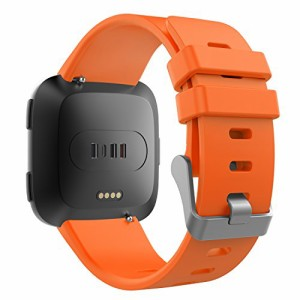 5341c996a0 ATiC Fitbit Versa バンド 高級シリコン製腕時計バンド 交換ベルト Orange - Sサイズ