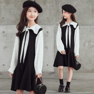 子ども ワンピース 七五三 お宮参り 入園式  長袖 重ね着風  発表会 結婚式 秋冬 白×黒色