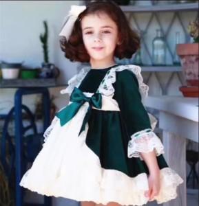 クラシックファッション ベルベットワンピースドレスグリーン80-120