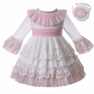 子供服ロイヤルレースフリルワンピースドレス2-8歳頃G-DMGD112-C128
