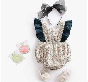 4f464205e9365 ロンパース 女の子 花柄 フリル袖 出産祝い かわいい グリーン 韓国 子供服 女の子 韓国 ファッション