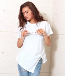 faebb0fa95a51 【50%OFF】ギャザーヘムTシャツ【anap Latina アナップ アシンメトリー tシャツ レディース