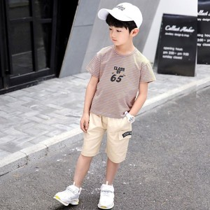 679b0111341b3d 韓国子供服 男の子 ストライプTシャツ カジュアルパンツ 2点セット 夏服 半袖 子供服
