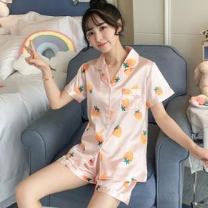 レディース パジャマ ルームウェア セット 可愛い シルク風 可愛い 大人 肌になじむ生地 柔らかい 女子 上下 ショートパンツ 半袖