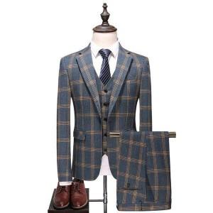 ビジネススーツ3点セットメンズ 紳士 一つボタン チェック柄 スリーピース スリム フォーマル リクルート 結婚式 長袖 細身 セットアップ