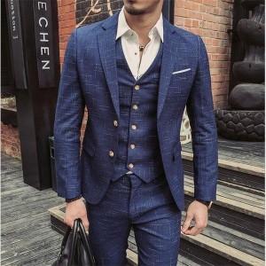 メンズ スーリピーススーツ 新品 三点セット チェック柄 ビジネススーツ 忘年会 細身 結婚式 きれいめ スーツセットアップ スリム