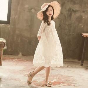 子供服 ワンピース キッズ 子供ドレス dress 韓国子供服 ジュニア 女の子 夏 半袖 膝丈ワンピース 白 刺繍 レース カジュアル おしゃれ