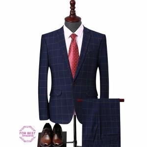 2ピーススーツ メンズ ビジネススーツ セットアップ 結婚式 チェック スーツセットアップ カジュアルスーツ 細身 通勤
