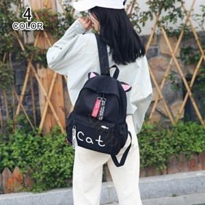リュック レディース キャンバス バッグ ねこ ネコ 猫 バックパック ショルダーバッグ トートバッグ リュックサック ディパック 通勤 修