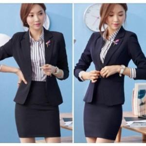 ビジネススーツセット パンツorスカートセット レディースフォーマル事務服長袖スーツOL制服2点セット細身シルエットで、美スタイル魅せ
