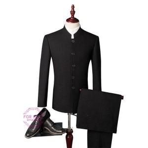 2ピーススーツ スーツ 結婚式スーツ チャイナ風 メンズ スーツセットアップ カジュアルスーツ 卒業式 紳士服 細身 同窓会 二次会 秋物 秋