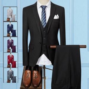 スーツ メンズ ビジネススーツ 3ピーススーツ 1ボタン カジュアルスーツ セットアップ スリム 二次会 結婚式 卒業式 秋物