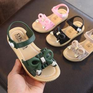 キッズ サンダル 女の子 履きやすい リボン 可愛い 子供靴 シューズ 夏 シンプル やわらかい ガールズ ジュニア スポーツサンダル 通園