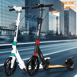 キックボード キックスクーター 子供 大人 10インチタイヤ 折りたたみ 高さ調節可 スタンド付で自立可 ハンドブレーキ 足踏み式ブレーキ