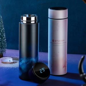 スマート魔法瓶 6種 温度表示 水筒 タンブラー 450ml 茶こし付き ステンレス鋼 真空 マグボトル ポータブル おしゃれ アウトドア 弁当