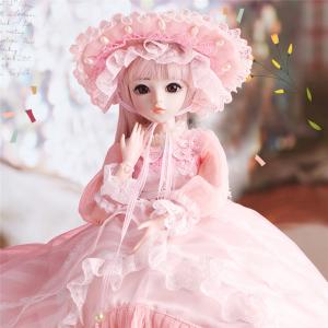 フランス人形 西洋 球体関節 お姫様 お嬢様 女の子 BJD 帽子ロングヘア ピンクドレス 衣装付き フルビニール60cm 上品 気品 SD 着せかえ