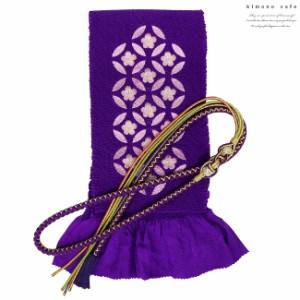 振袖 帯揚げ 帯締め 2点 セット 絹 正絹  四つ巻き 輪出し 丸ぐけ 刺繍 花 赤 青 レディース 婦人 女性 成人式