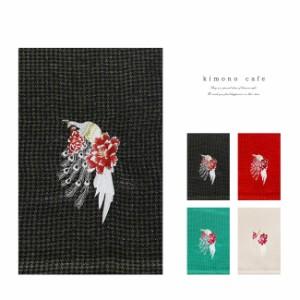 振袖用帯揚げ 孔雀刺繍 千鳥格子 ラメ 正絹 振袖 帯揚 成人式 ママ振袖 綸子 緑 赤 白 黒