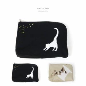メイクポーチ itocco 犬 猫 化粧ポーチ メイク入れ 化粧入れ 携帯 可愛い L字ファスナー マチ付き 大容量 洗える