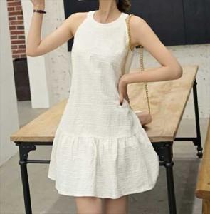 6fa1a73bc3bc0 春 夏 ノースリーブ ワンピース 白 黒 ワンピース ドレス フィッシュテールスカート KR-5-024