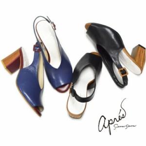apres アプレ バックストラップ サンダル 3750195 日本製 本革 チャンキヒール V字カット ハイヒール レディース 靴 歩きやすい 痛くない